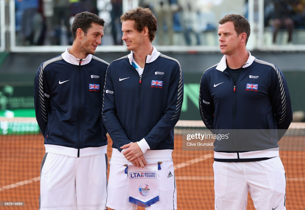 Andy Murray and James Ward of Great Britain share a joke prior to the opening ceremony and national anthems during day two of the Davis Cup World Group Quarter Final match between Italy and Great Britain at Tennis Club Napoli on April 5, 2014 in Naples, Italy.