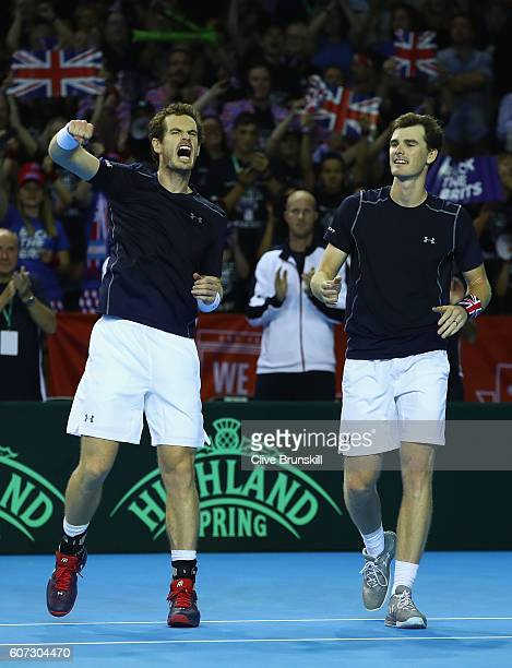 Andy Murray and Jamie Murray of Great Britain celebrate their four set victory against Juan Martin Del Potro and Leonardo Mayer of Argentina in their...