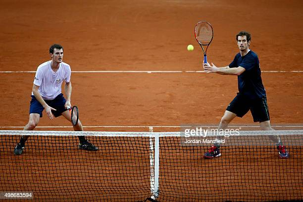 Andy Murray and Jamie Murray of Great Britain during a practice session ahead of the start of The Davis Cup at Flanders Expo on November 25 2015 in...
