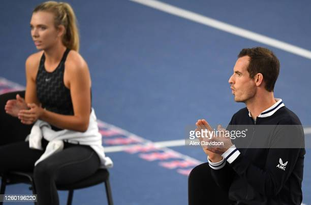 Andy Murray and Katie Boulter of Union Jacks look on during Day One of the St James's Place Battle Of The Brits Team Tennis at National Tennis Centre...