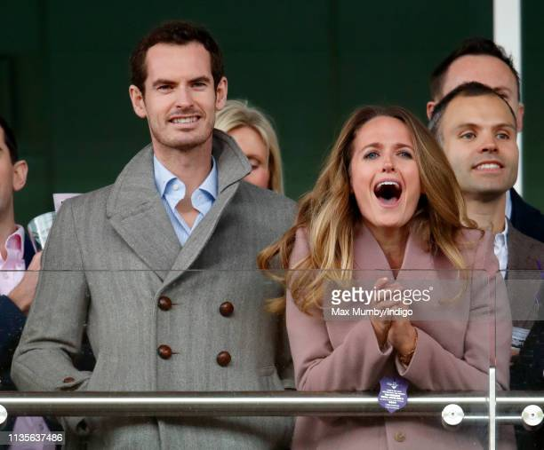Andy Murray and Kim Murray watch the racing as they attend day 2 'Ladies Day' of the Cheltenham Festival at Cheltenham Racecourse on March 13 2019 in...