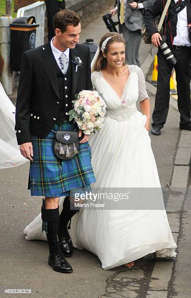 Andy Murray and Kim Sears leave Dunblane Cathedral after their wedding on April 11 2015 in Dunblane Scotland