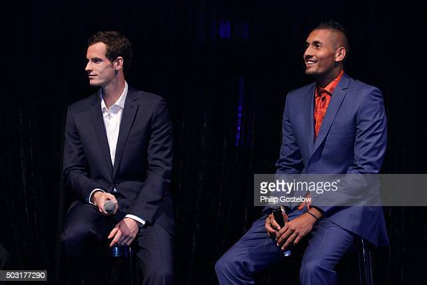 Andy Murray and Nick Kyrgios at the 2016 Hopman Cup Player Party at Perth Crown on January 2 2016 in Perth Australia