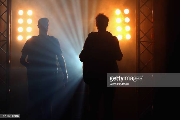 Andy Murray and Partner Jamie Murray make their way out onto the court during Andy Murray Live at The Hydro on November 7 2017 in Glasgow Scotland