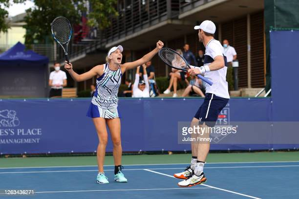 Andy Murray and partner Naomi Broady of Union Jacks celebrate in their mixed doubles match against Emma Raducanu and Kyle Edmund of British Bulldogs...