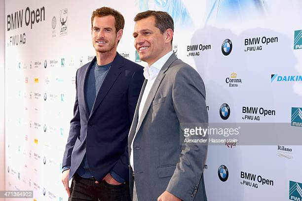 Andy Murray arrives with Michael Mronz for the Iphitos Tennis Club 100 years celebration at Iphitos Tennis Club prior to the BMW Open on April 27...