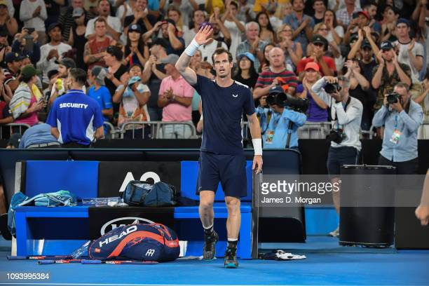 Andy Murray at the end of his first round game during day one of the 2019 Australian Open at Melbourne Park on January 14 2019 in Melbourne Australia