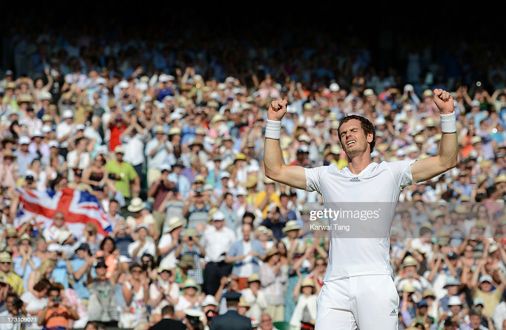 Andy Murray celebrates after beating Novak Djokovic in the Mens Singles Final on Day 13 of the Wimbledon Lawn Tennis Championships at the All England Lawn Tennis and Croquet Club on July 7, 2013 in London, England.