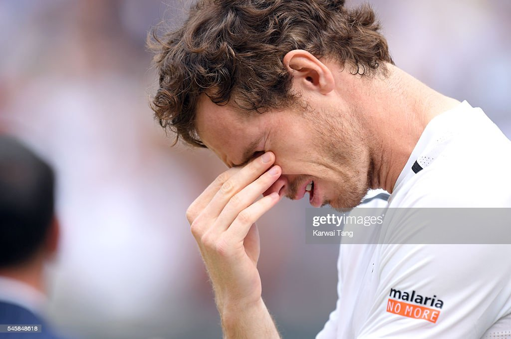 Andy Murray celebrates after defeating Milos Raonic in the Men's Final of the Wimbledon Tennis Championships between at Wimbledon on July 10, 2016 in London, England.