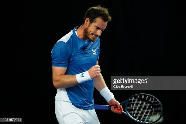 Andy Murray celebrates match point in his match against Liam Broady on day one of Schroders Battle of the Brits at the National Tennis Centre on June...