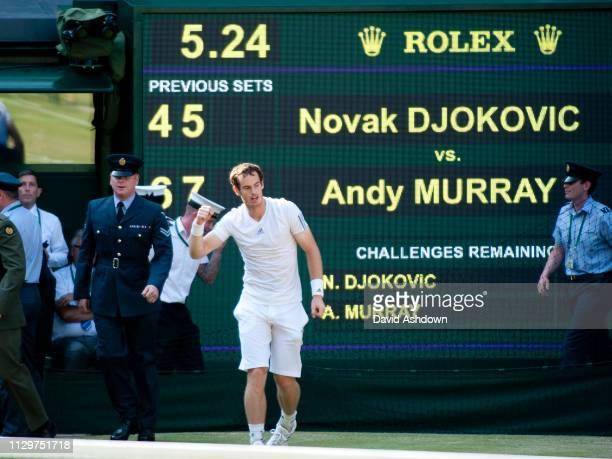 Andy Murray defeats Novak Djokovic to win his 1st Wimbledon Final 7th July 2013.