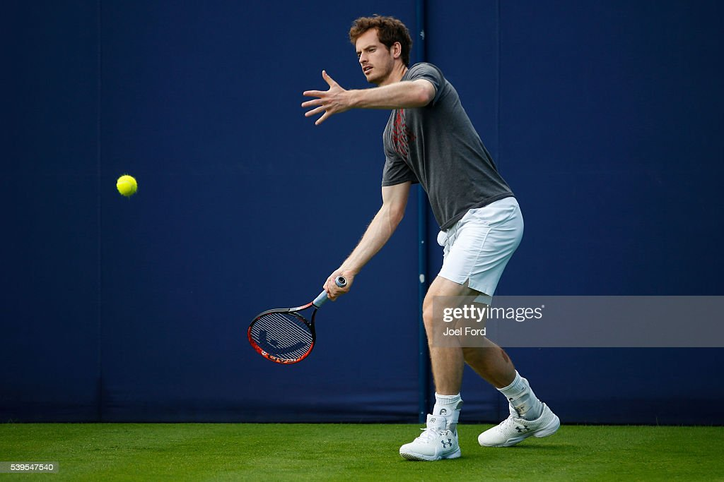 Andy Murray during a practice session at the Aegon Championships at Queens Club on June 12, 2016 in London, England.