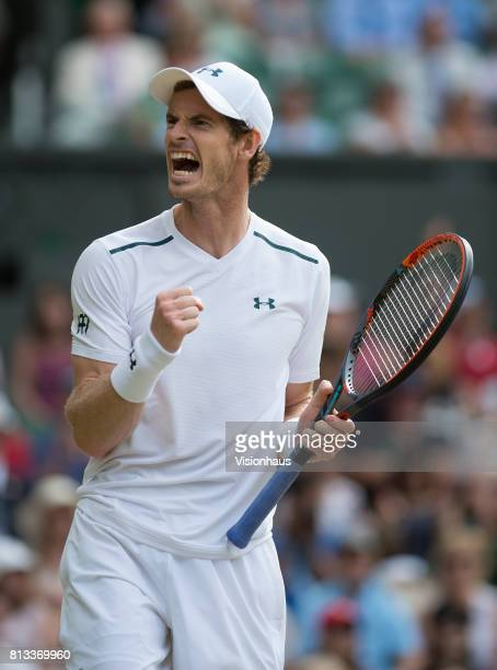 Andy Murray during his fourth round match against Benoit Paire on day seven of the Wimbledon Lawn Tennis Championships at the All England Lawn Tennis...