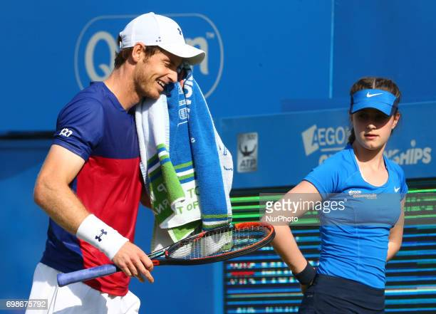 Andy Murray GBR against Jordan Thompson during Round One match on the second day of the ATP Aegon Championships at the Queen's Club in west London on...
