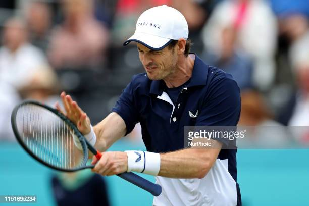 Andy Murray gets frustrated with himself during the Fever Tree Tennis Championships at the Queen's Club, West Kensington on Sunday 23rd June 2019.