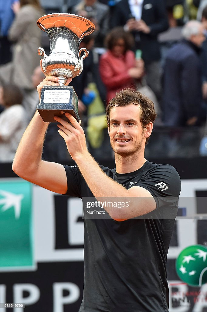 Andy Murray (GBR) holds his winning trophy after ATP Final match between Djokovic (SRB) vs Murray (GBR) at the Internazionali BNL d'Italia 2016 at the Foro Italico on May 15, 2016 in Rome, Italy.