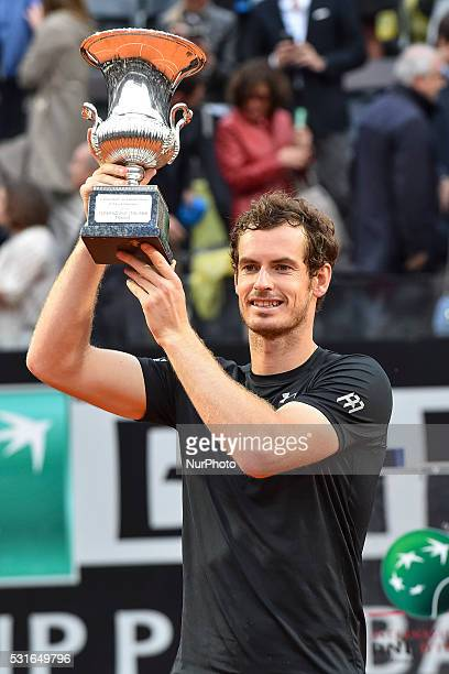 Andy Murray holds his winning trophy after ATP Final match between Djokovic vs Murray at the Internazionali BNL d'Italia 2016 at the Foro Italico on...