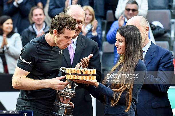 Andy Murray holds the winning trophy after ATP Final match between Djokovic vs Murray at the Internazionali BNL d'Italia 2016 at the Foro Italico on...
