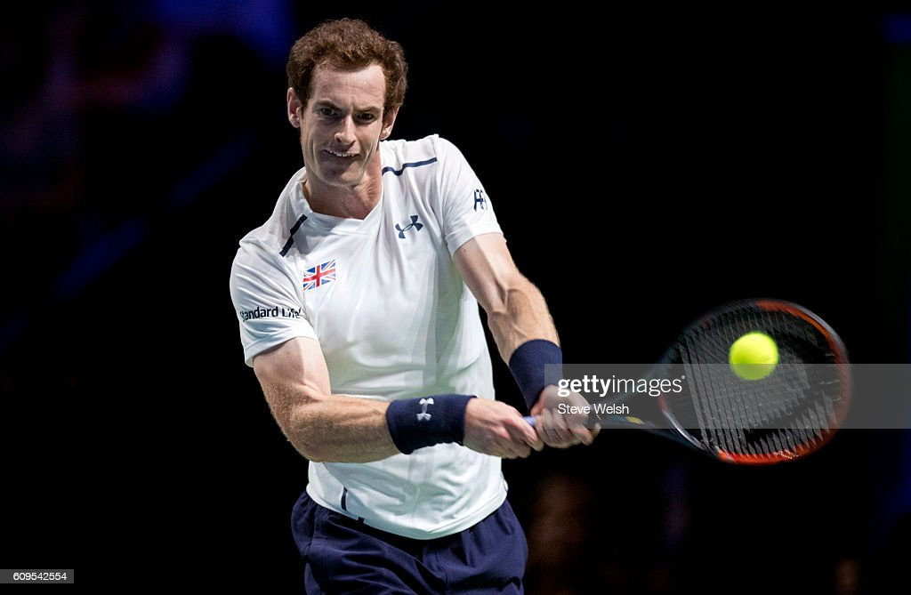 Andy Murray in action against Grigor Dimitrov during Andy Murray Live presented by SSE at the SSE Hydro on September 21, 2016 in Glasgow, Scotland.