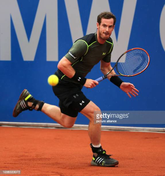 Andy Murray in action against Philipp Kohlschreiber of Germany during the finals of the ATP Tennis Tournament in Munich Germany 03 May 2015 Due to...