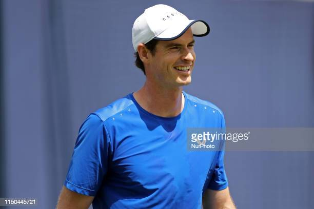 Andy Murray in practice during the Fever Tree Tennis Championships at the Queen's Club West Kensington on Monday 17th June 2019