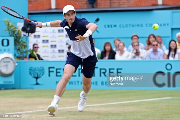 Andy Murray looks for a forehand winner during the Fever Tree Tennis Championships at the Queen's Club, West Kensington on Sunday 23rd June 2019.