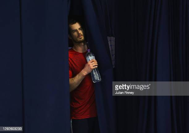 Andy Murray looks on during Day Three of the Battle of the Brits Premier League of Tennis at the National Tennis Centre on December 22, 2020 in...