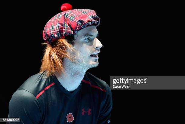 Andy Murray looks on during his match against Roger Federer during Andy Murray Live at The Hydro on November 7 2017 in Glasgow Scotland