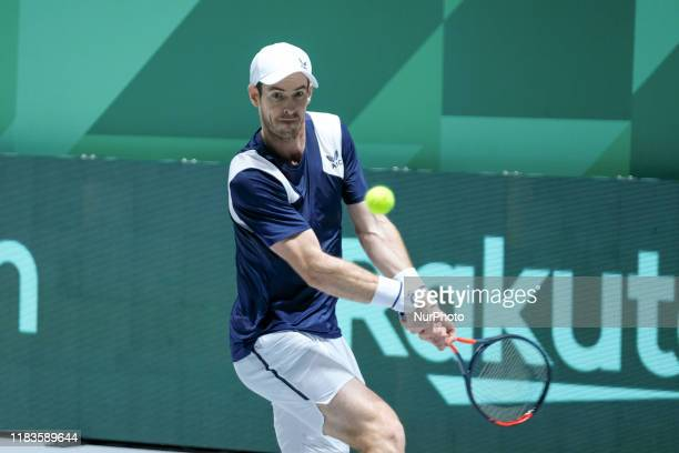Andy Murray of Britain in action during Day 3 of the 2019 Davis Cup at La Caja Magica on November 20 2019 in Madrid Spain