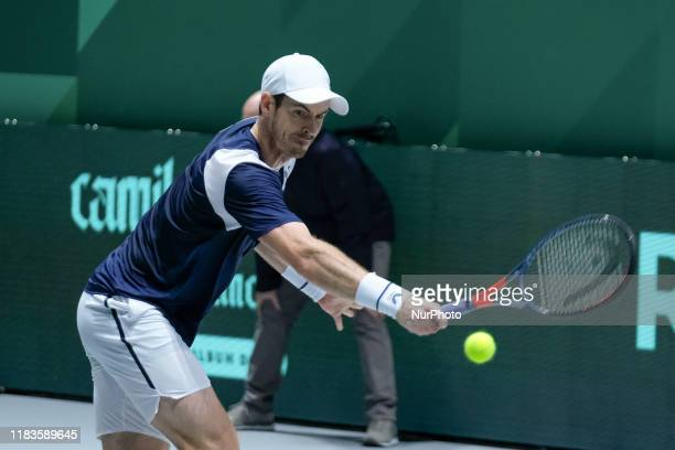 Andy Murray of Britain in action during Day 3 of the 2019 Davis Cup at La Caja Magica on November 20, 2019 in Madrid, Spain
