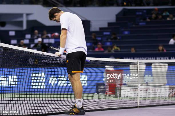 Andy Murray of Britain reacts during his match against Radek Stepanek of the Czech Republic during day six of the Shanghai Rolex Masters at the Qi...