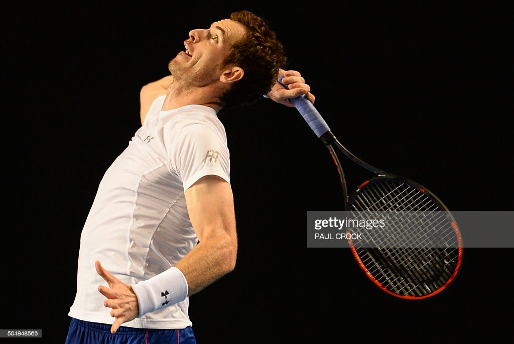 Andy Murray of Britain serves during a practice session ahead of the Australian Open tennis tournament in Melbourne on January 14, 2016.