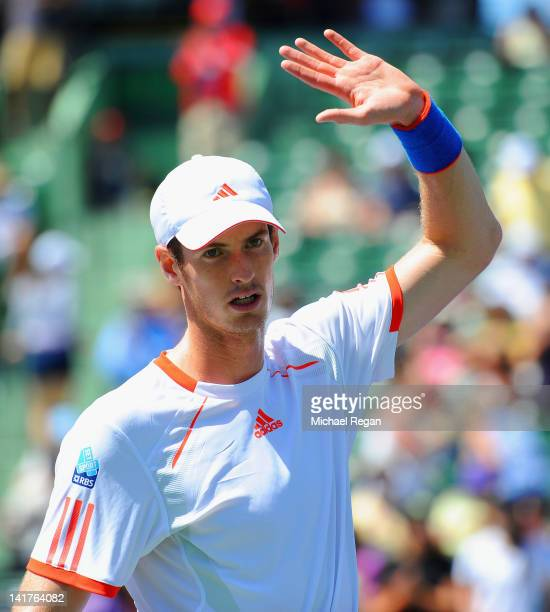 Andy Murray of Britain waves to the crowd after winning his match against Alejandro Falla of Columbia during day 5 of the Sony Ericsson Open at...