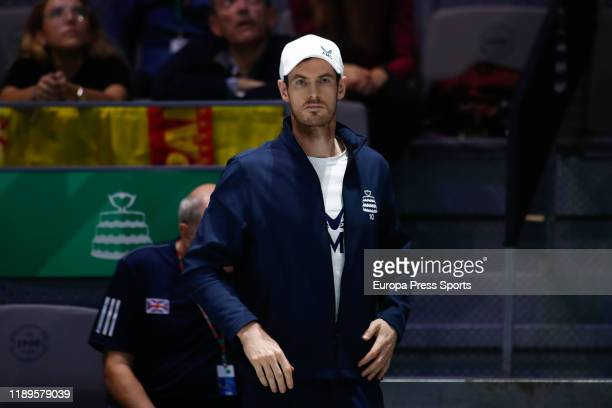 Andy Murray of England looks the first round singles match SemiFinals played between Kyle Edmund of England and Feliciano Lopez of Spain during the...