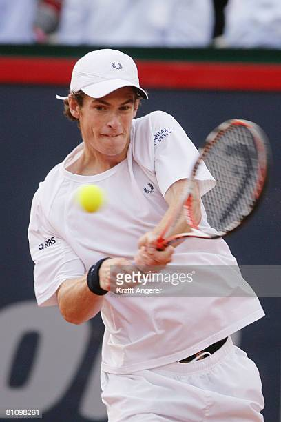 Andy Murray of England returns during the match against Rafael Nadal of Spain during day four of the Tennis Masters Series Hamburg at Rothenbaum...