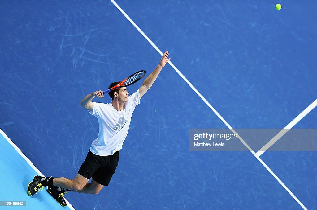 Andy Murray of Grae Britain warms up during previews for the ATP World Tour Finals at the O2 Arena on November 4, 2012 in London, England.