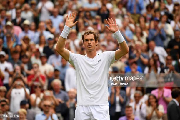 Andy Murray of Great Britain acknowledges the crowd as he celebrates victory after the Gentlemen's Singles first round match against Alexander Bublik...