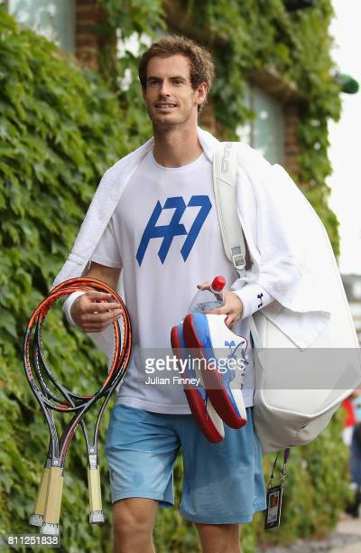 Andy Murray of Great Britain after a training session at Wimbledon on July 9 2017 in London England