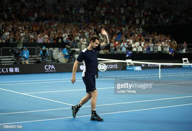 Andy Murray of Great Britain after his first round loss to Roberto Bautista Agut of Spain during day one of the 2019 Australian Open at Melbourne...