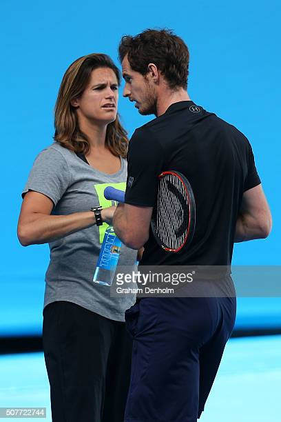 Andy Murray of Great Britain and coach Amelie Mauresmo chat in a practice session ahead of the Men's Final during day 14 of the 2016 Australian Open...