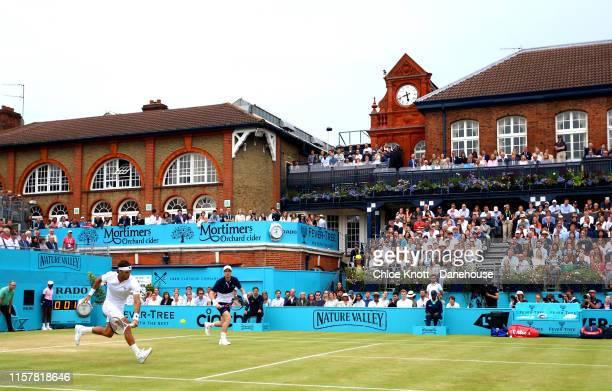 Andy Murray of Great Britain and Feliciano Lopez of Spain in action during the Men's Doubles Final against Joe Sailsbury of Great Britain and Rajeev...
