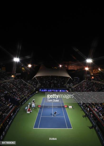 Andy Murray of Great Britain and Fernando Verdasco of Spain in action during the final match on day seven of the ATP Dubai Duty Free Tennis...