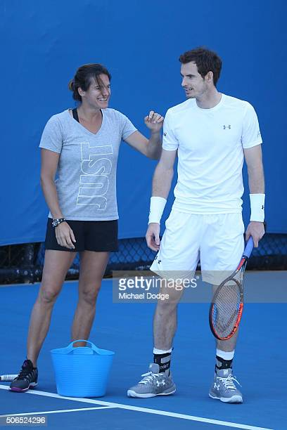 Andy Murray of Great Britain and his coach Amelie Mauresmo in his practice session during day seven of the 2016 Australian Open at Melbourne Park on...