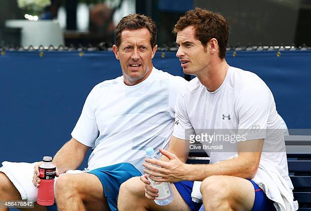 Andy Murray of Great Britain and his coach Jonas Bjorkman attend a practice session on Day Five of the 2015 US Open at the USTA Billie Jean King...