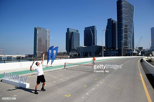 Andy Murray of Great Britain and Rafeal Nadal of Spain attend the offical players launch of 2016 Mubadala Tennis Championship at Al Maryah Island on...