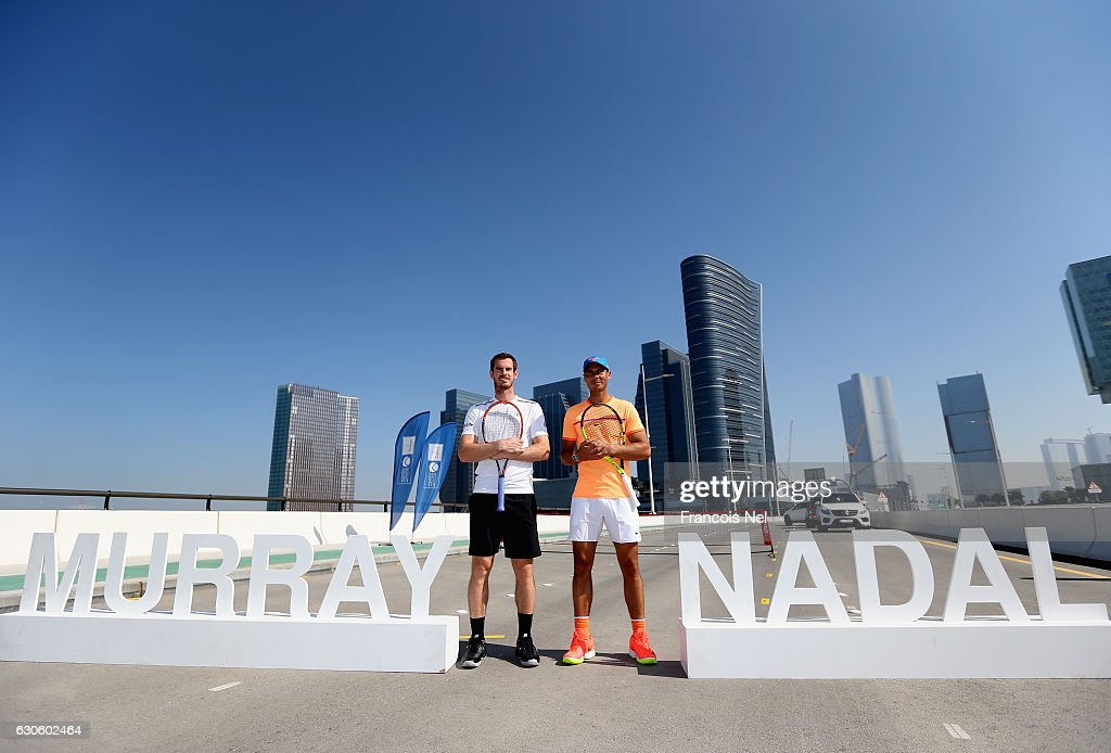 Andy Murray of Great Britain and Rafeal Nadal of Spain pose for a picture during the offical players launch of 2016 Mubadala Tennis Championship at Al Maryah Island on December 28, 2016 in Abu Dhabi, United Arab Emirates.