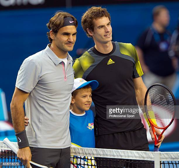 Andy Murray of Great Britain and Roger Federer of Switzerland prior to their semi-final match on day twelve of the 2013 Australian Open at Melbourne...