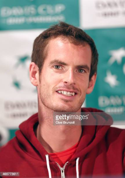 Andy Murray of Great Britain answers questions from the media before his first round match against the United States prior to the Davis Cup World...