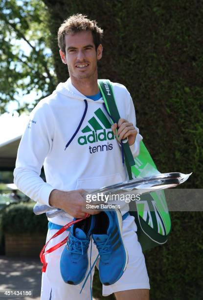 Andy Murray of Great Britain arrives at Aorangi park to practice on the Middle Sunday of the Wimbledon Lawn Tennis Championships at the All England...
