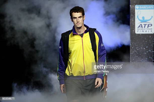 Andy Murray of Great Britain arrives during the men's singles second round match against Roger Federer of Switzerland during the Barclays ATP World...